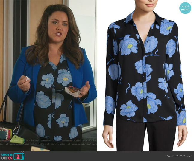 Modern Fit Long Sleeve Button-front Shirt by Worthington at JCPenney worn by Katy Mixon on American Housewife