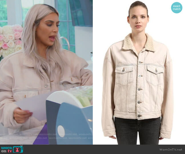 Classic Faux Shearling Denim Jacket by Yeezy worn by Kim Kardashian  on Keeping Up with the Kardashians