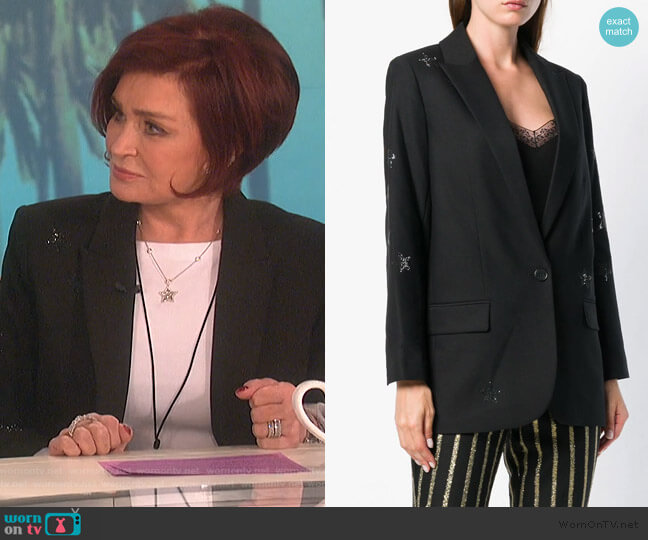 Embellished Blazer by Zadig & Voltaire worn by Sharon Osbourne  on The Talk