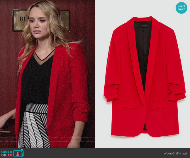 Zara Crepe Blazer worn by Hunter King on The Young & the Restless