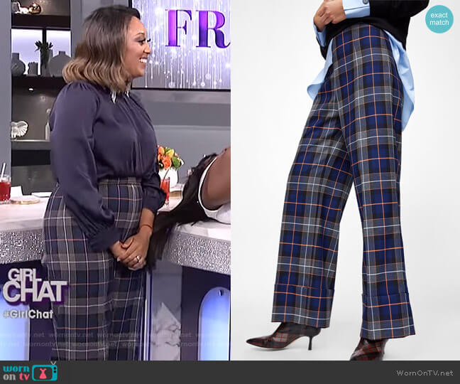 Turned-up Hem Plaid Pants by Zara worn by Tamera Mowry on The Real