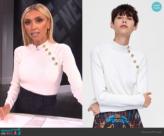 Ribbed Sweater with Buttons by Zara worn by Giuliana Rancic on E! News