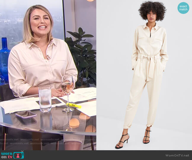 Shirt Jumpsuit with Belt by Zara worn by Carissa Loethen Culiner on E! News