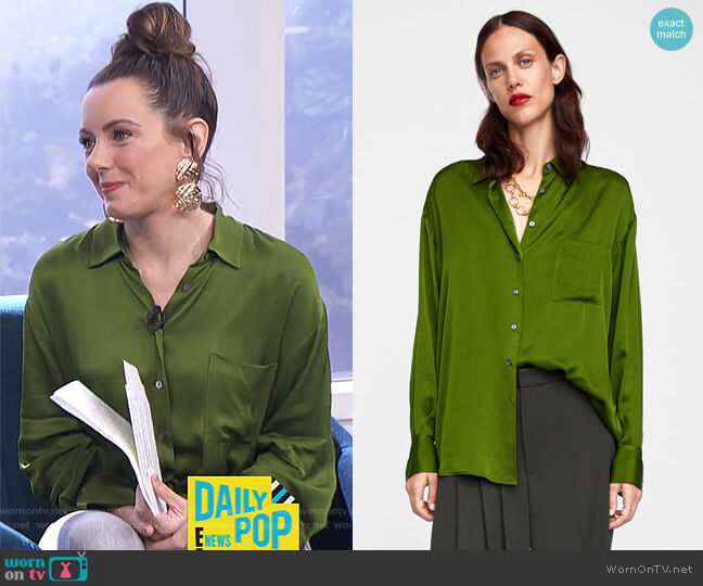 Satin Blouse by Zara worn by Melanie Bromley  on E! News