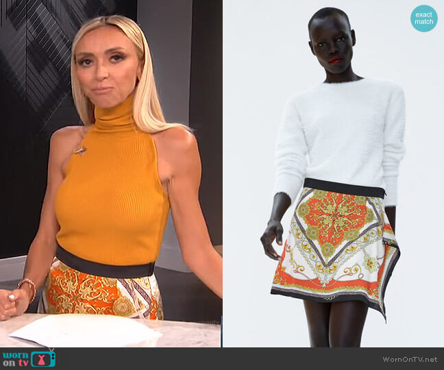 Skort with Chain Print by Zara worn by Giuliana Rancic on E! News