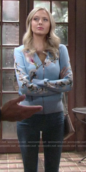 Abby's blue floral jacket on The Young and the Restless