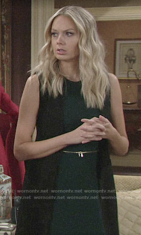 Abby's green zip-waist dress on The Young and the Restless