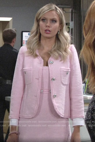 Abby's pink tweed dress and jacket on The Young and the Restless