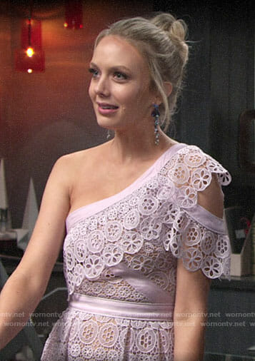 Abby's purple lace one-shoulder dress on The Young and the Restless