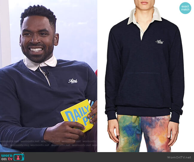 Mélange Cotton Rugby Shirt by Aime Leon Dore worn by Justin Sylvester  on E! News
