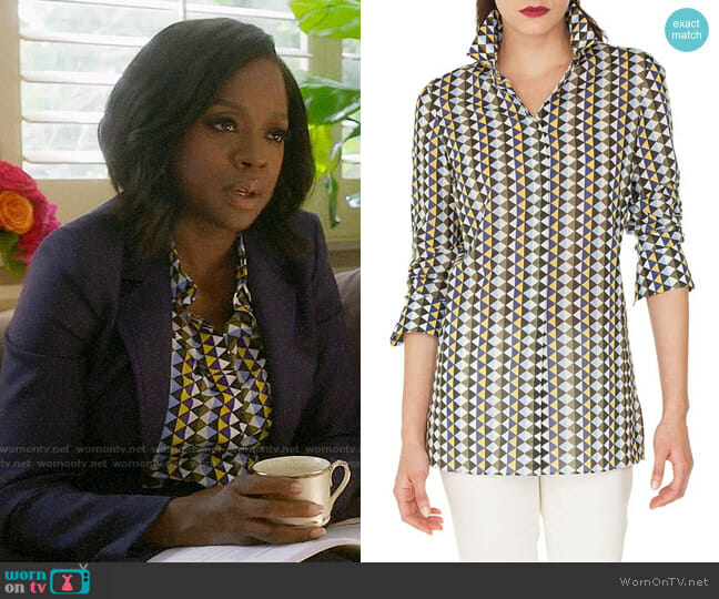 Akris Diamond Print Cotton Voile Tunic Blouse worn by Annalise Keating (Viola Davis) on HTGAWM
