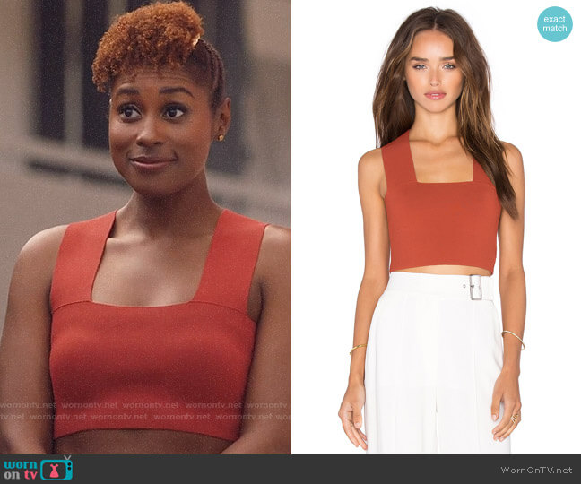 ALC Ali Top in Rust worn by Issa Dee (Issa Rae) on Insecure