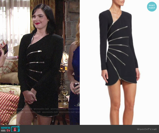 Alexander Wang Zip-Detail Long-Sleeve Mini Dress worn by Tessa Porter (Cait Fairbanks) on The Young & the Restless