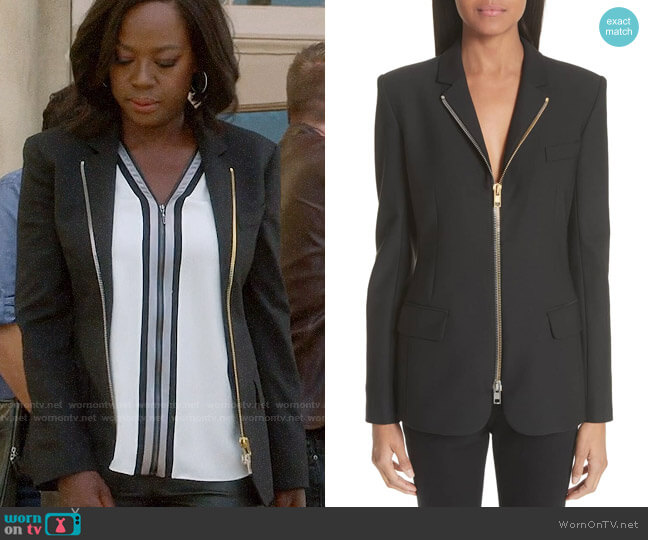 Alexander Wang Zip Front Blazer worn by Annalise Keating (Viola Davis) on HTGAWM