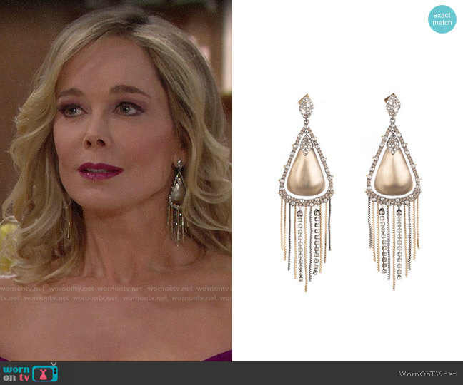 Alexis Bittar Crystal Encrusted Tassel Drop Earrings worn by Donna Logan (Jennifer Gareis) on The Bold & the Beautiful