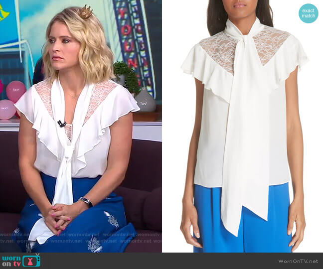 Terry Blouse by Alice + Olivia worn by Sara Haines on Good Morning America