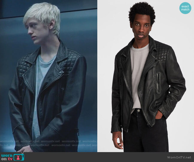 Cargo Leather Biker Jacket by All Saints worn by Percy Hynes White on The Gifted