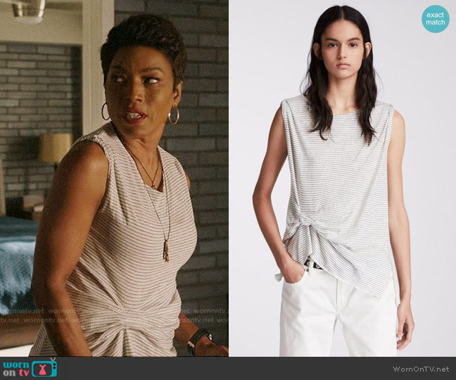 All Saints Rivi Stripe Tank worn by Athena Grant (Angela Bassett) on 9-1-1