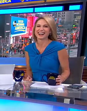 Amy's blue twisted front dress on Good Morning America
