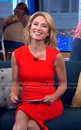 Amy's red asymmetric v-neck dress on Good Morning America