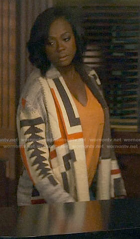 Annalise's geometric patterned cardigan on How to Get Away with Murder