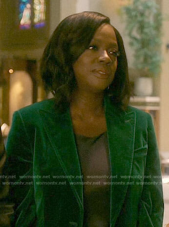 Annalise's green velvet blazer on How to Get Away with Murder