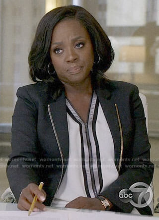 Annalise's white zip-front top on How to Get Away with Murder