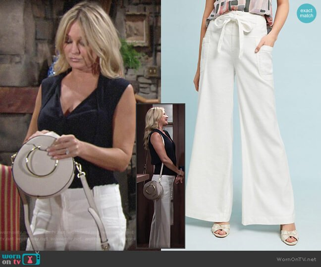 Anthropologie Tie-Waist Linen Wide Legs worn by Sharon Collins (Sharon Case) on The Young & the Restless
