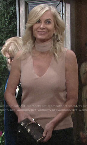Ashley's beige choker neck top on The Young and the Restless
