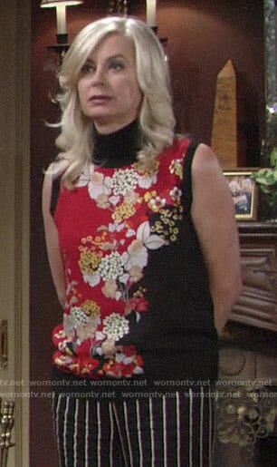 Ashley's red and black floral top on The Young and the Restless