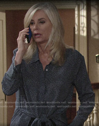 Ashley's dotted tie-waist blouse on The Young and the Restless