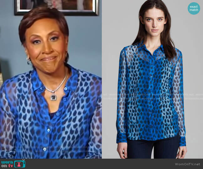 Audrey Blouse by Equipment worn by Robin Roberts  on Good Morning America