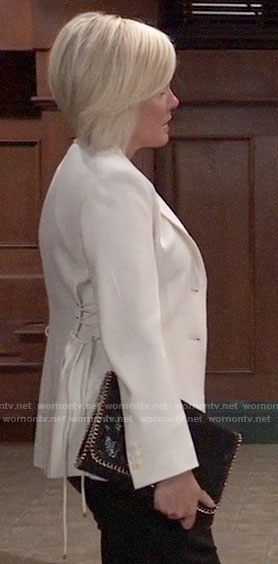 Ava's white blazer with lace-up sides on General Hospital
