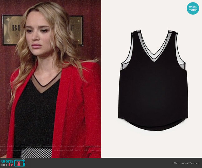Aritzia Babaton Holbrooke Blouse worn by Summer Newman (Hunter King) on The Young & the Restless
