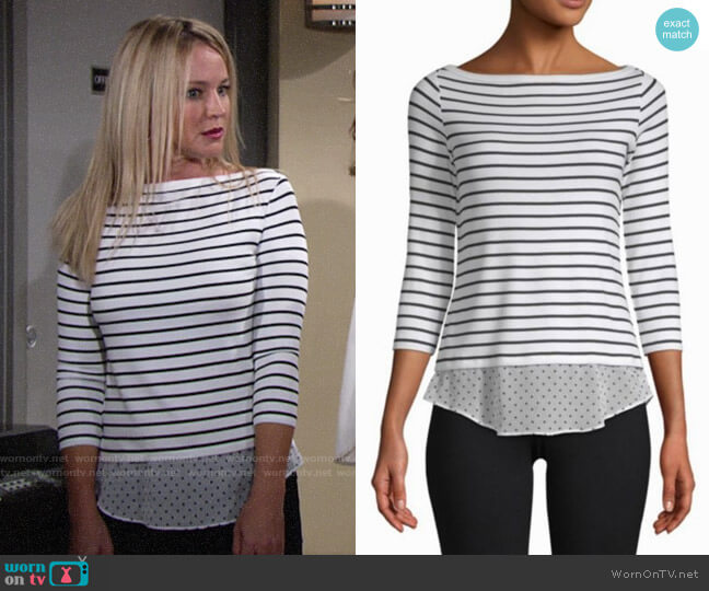 Bailey 44 Tripin Striped Mixed Media Top worn by Sharon Collins (Sharon Case) on The Young & the Restless
