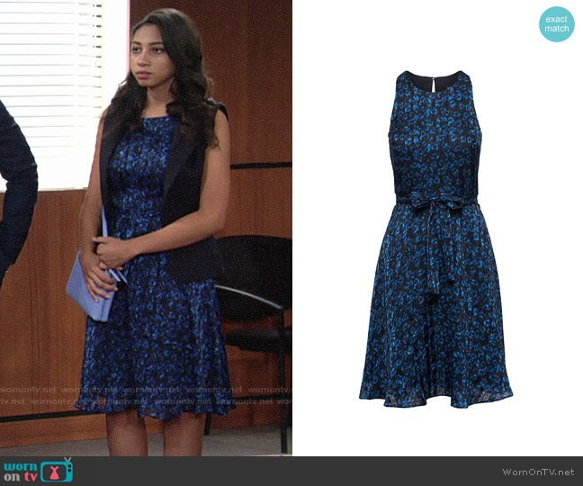 Banana Republic Leopard Print Racer-Neck Fit-and-Flare Dress worn by Camryn Hamm on The Young & the Restless