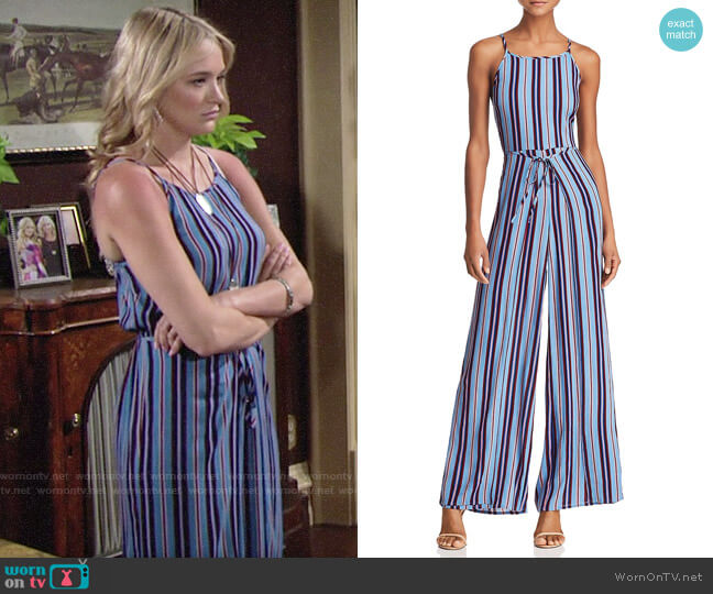 Band of Gypsies Gia Striped Jumpsuit worn by Hunter King on The Young & the Restless