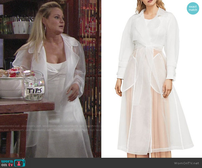 Bcbgmaxazria Calico Sheer Organza Trench Coat worn by Sharon Collins (Sharon Case) on The Young & the Restless