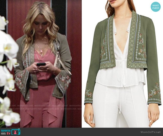 Bcbgmaxazria Floral Embroidered Cropped Jacket worn by Summer Newman (Hunter King) on The Young & the Restless