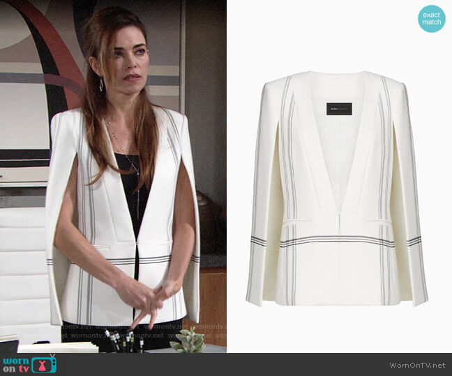 Bcbgmaxazria Upas Striped Cape worn by Amelia Heinle on The Young & the Restless