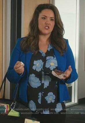 Katie's black floral print blouse on American Housewife