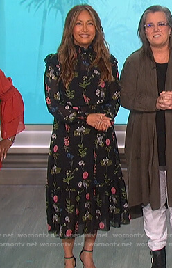 Carrie Inaba's black floral dress on The Talk