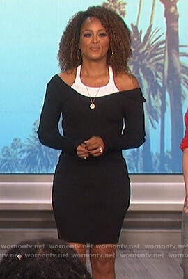 Eve's black layered sweater dress on The Talk