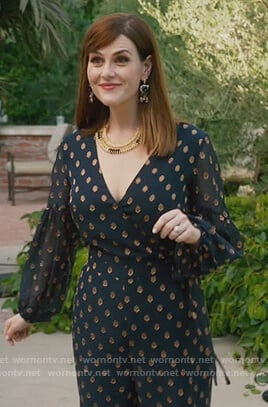 Nancy's polka dot jumpsuit on American Housewife