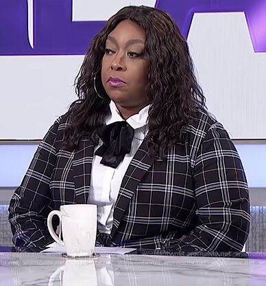 Loni's black plaid suit on The Real