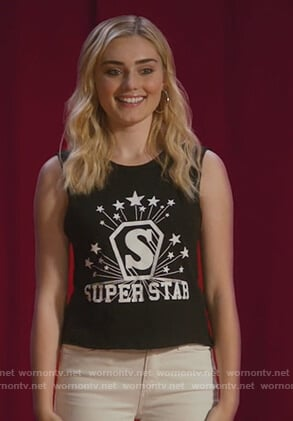 Taylor's black Superstar muscle tee on American Housewifes