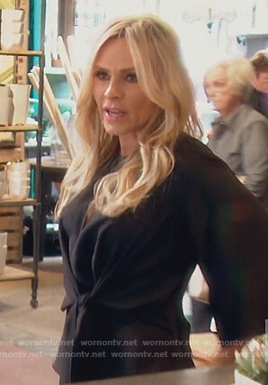 Tamra's black tie front blouse on The Real Housewives of Orange County