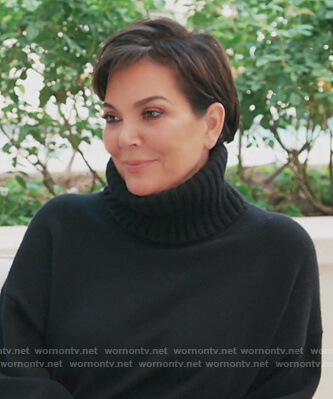 Kris's black turtleneck sweater on Keeping Up with the Kardashians