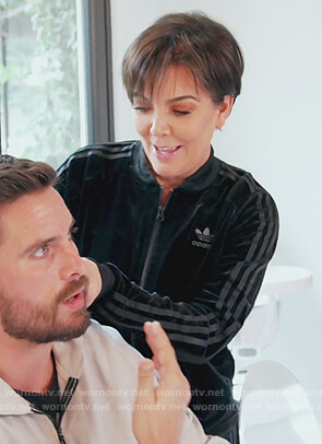 Kris's black velvet Adidas track jacket on Keeping Up with the Kardashians
