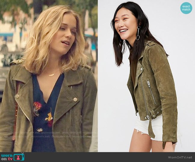 Blank NYC Suede Moto Jacket worn by Elizabeth Lail on You